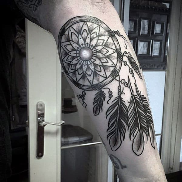 Inner Forearm Dreamcatcher Black Ink Male Tattoos