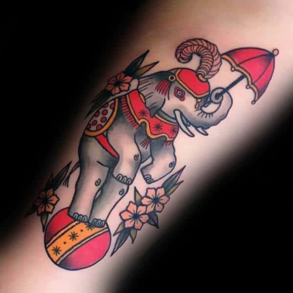 Inner Forearm Elephant Circus Mens Tattoo Ideas