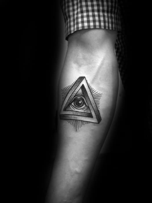 Inner Forearm Eye Penrose Triangle Tattoos Male