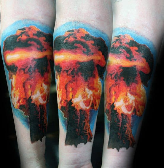 Inner Forearm Fire Mushroom Cloud Mens Tattoo Ideas
