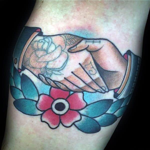 Inner Forearm Flower Handshake Tattoo Ideas For Males