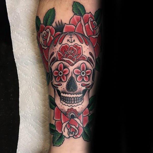 inner-forearm-flower-sugar-skull-tattoo-for-guys