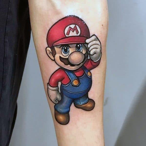 Inner Forearm Gamer Guys Mario Tattoos