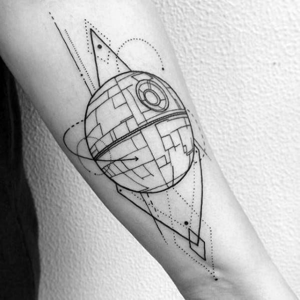 Inner Forearm Geometric Death Star Tattoo Ideas For Males