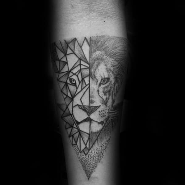 Inner Forearm Geometric Lion Guys Tattoo Designs