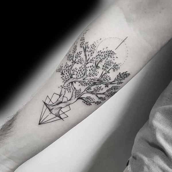 Inner Forearm Geometric Masculine Olive Tree Tattoos For Men