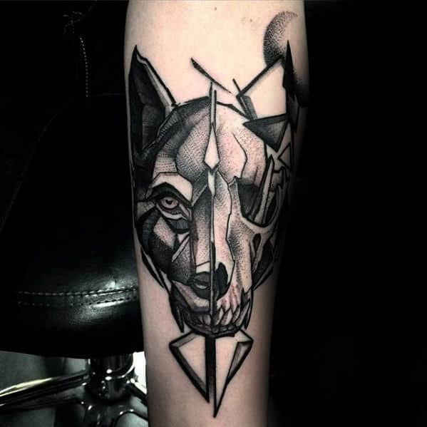Inner Forearm Geometric Wolf Animal Skull Tattoo For Men