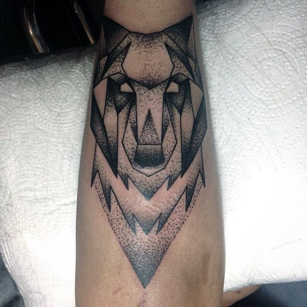 Inner Forearm Geometric Wolf Tattoo On Male With Dotwork Art