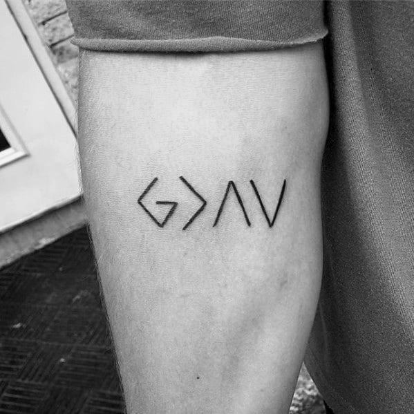 Inner Forearm God Is Greater Than The Highs And Lows Tattoo Designs For Guys