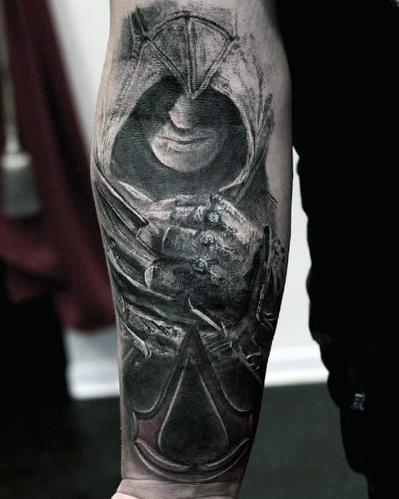 ce9127b5ab8bf Inner Forearm Guys Assassins Creed Character Tattoo Design Inspiration
