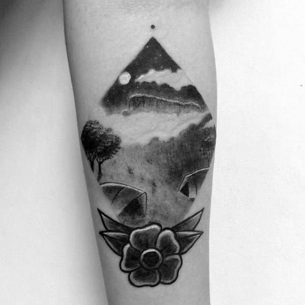 Inner Forearm Guys Camping With Flower Tattoos