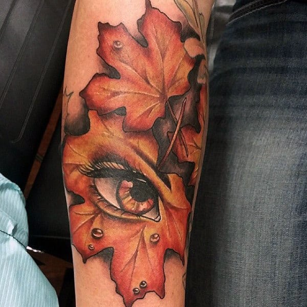 Inner Forearm Guys Fall Leaves Tattoos