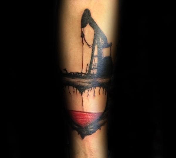 Inner Forearm Guys Oilfield Heart Pumping Blood Tattoo Design