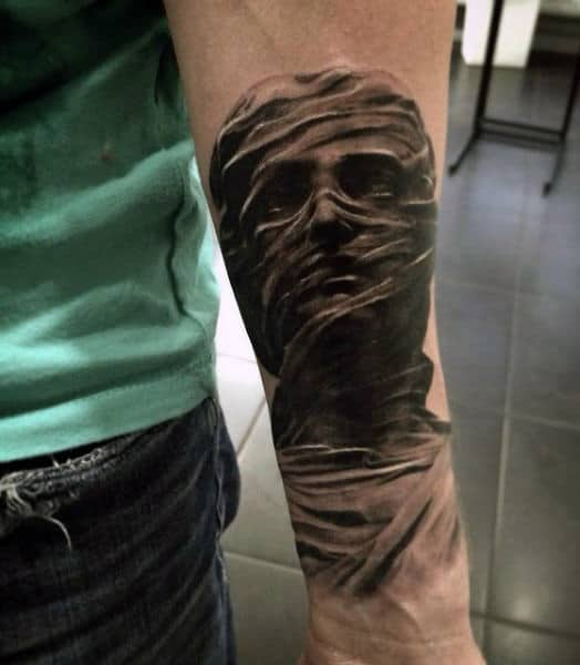 Inner Forearm Guys Realistic 3d Mummy Tattoo Design Inspiration