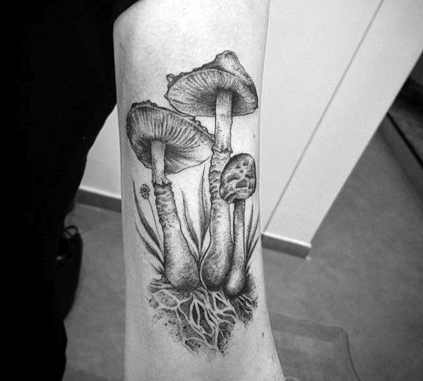 Inner Forearm Guys Tattoos With Mushroom Design