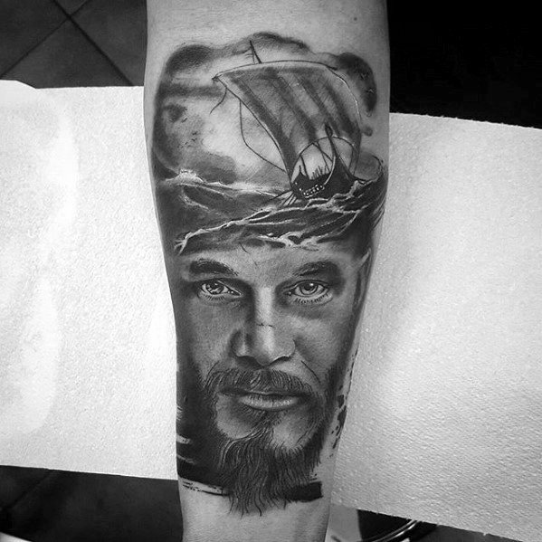 Inner Forearm Guys Tattoos With Ragnar Design