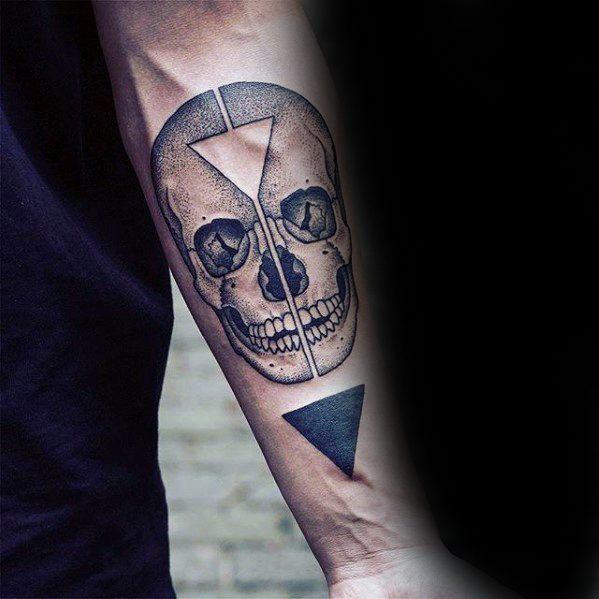 Inner Forearm Guys Unique Skull With Triangles Tattoo