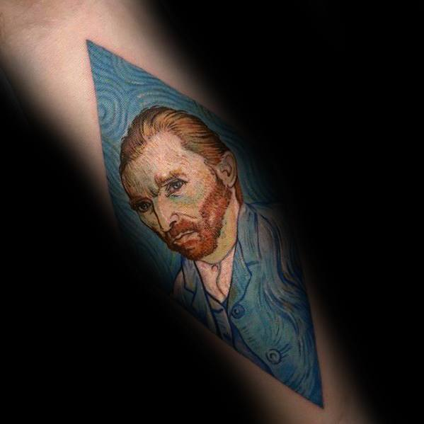 Inner Forearm Guys Vincent Van Gogh Portrait Tattoo Ideas