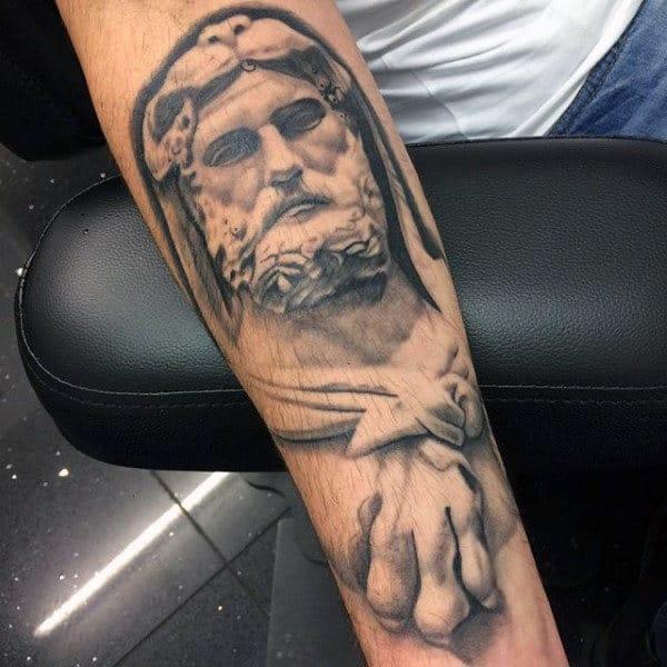 Inner Forearm Hercules Shaded Mens Tattoo Ideas