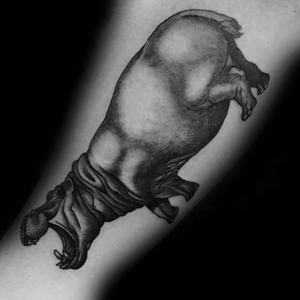 Inner Forearm Hippo Tattoos Guys
