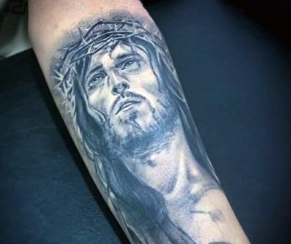 Inner Forearm Jesus Christian Tattoos For Guys