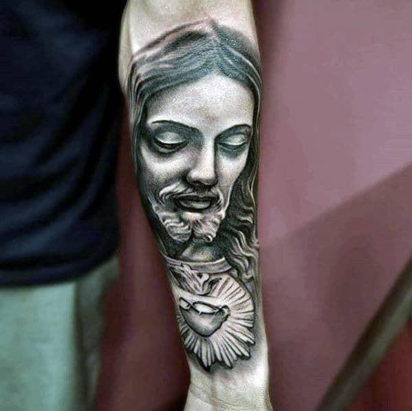 Inner Forearm Jesus Sacred Heart Tattoo Ideas For Guys