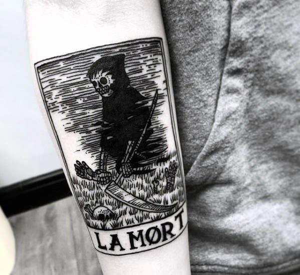 Inner Forearm La Morte Tarot Male Tattoo Designs