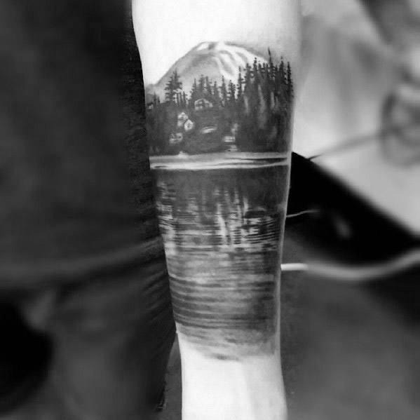 Inner Forearm Lake Guys Tattoos