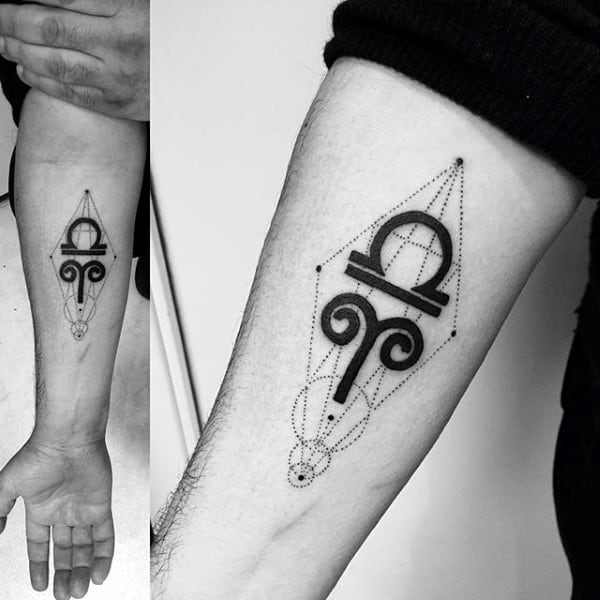 Inner Forearm Libra Geometric Inner Forearm Tattoos For Men