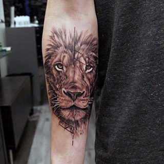 Inner Forearm Lion Tattoos For Males