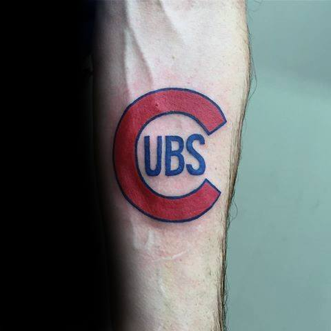 Inner Forearm Logo Chicago Cubs Mens Baseball Tattoo Ideas