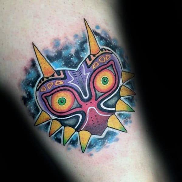 Inner Forearm Majoras Mask Tattoo Design On Man