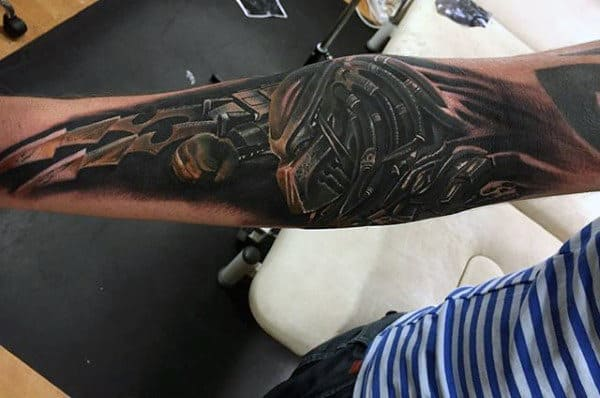 Inner Forearm Male 3d Predator Tattoo Design Ideas