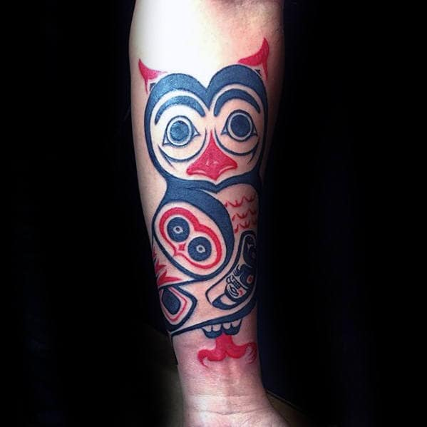 Inner Forearm Male Black And Red Ink Tribal Owls Tattoo