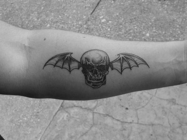Inner Forearm Male Deathbat Small Tattoo Designs