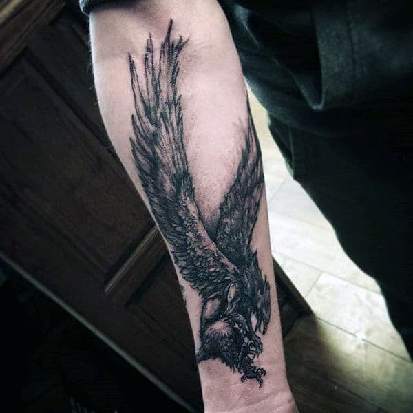 Inner Forearm Male Griffin Tattoo