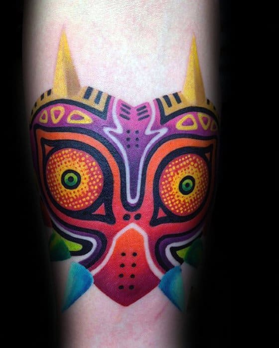 Inner Forearm Male Majoras Mask Tattoo Design Inspiration