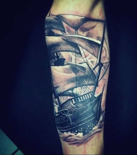Inner Forearm Male Nautical Sailing Ship Shaded Ink Tattoo