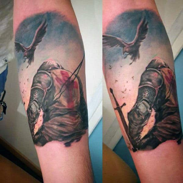 Inner Forearm Male Old English Tattoos Of Knights