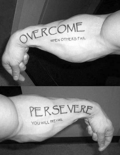 Inner Forearm Male Persevere Overcome Tattoo Ideas