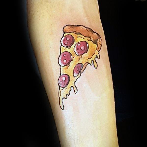 Inner Forearm Male Pizza Slice Tattoo