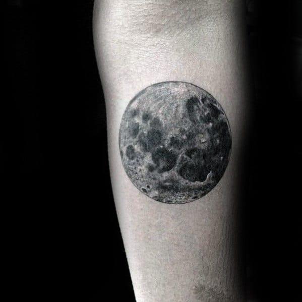 Inner Forearm Male Realistic Moon Tattoo Design Ideas