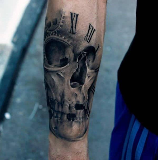 Inner Forearm Male Realistic Skull Roman Numerals Tattoo
