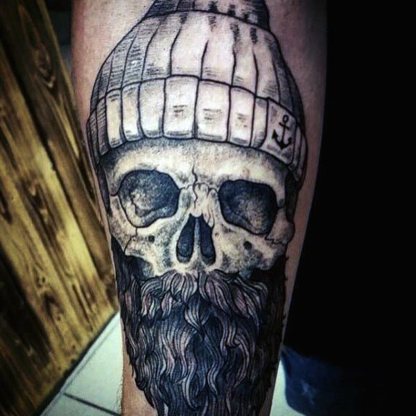 Inner Forearm Male Sailor Skull Tattoo