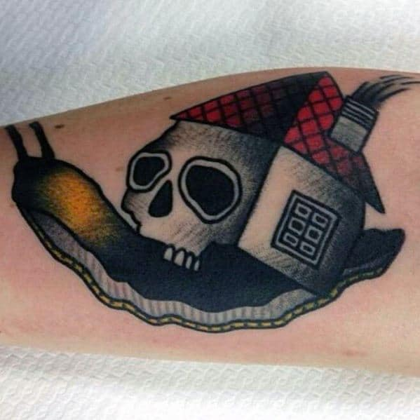 Inner Forearm Male With Cool Snail Skull And House Roof Tattoo Design