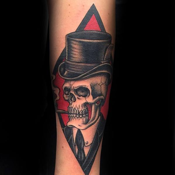 Inner Forearm Male With Cool Top Hat Tattoo Design