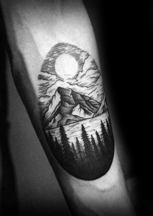 Inner Forearm Masculine Lake Tattoos For Men