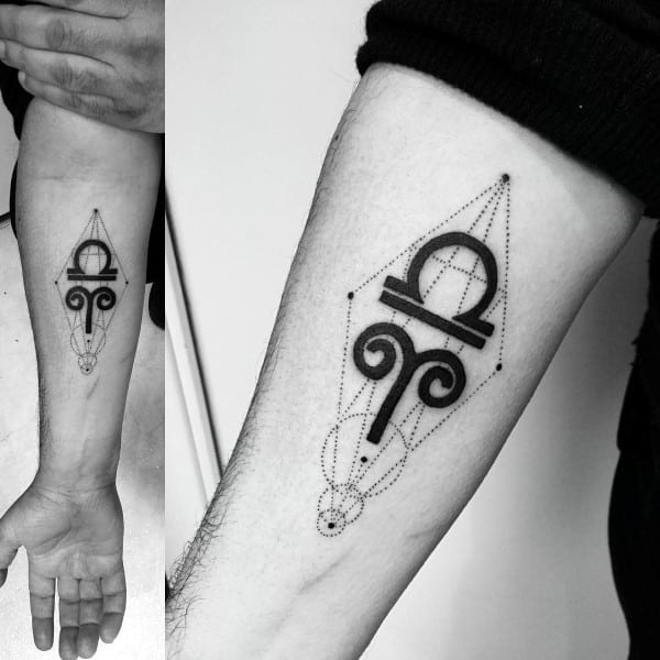 Inner Forearm Mens Aries Geometric Tattoo Designs