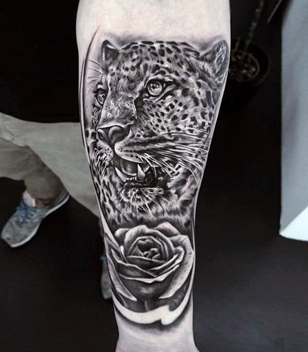Inner Forearm Mens Cheetah Rose Flower Shaded Tattoos