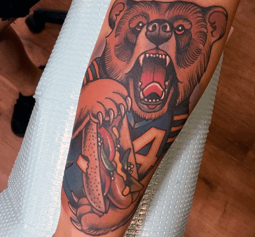 Inner Forearm Mens Chicago Bears Tattoo Design Inspiration